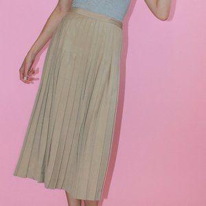 Vtg Khaki Pleated Midi Skirt